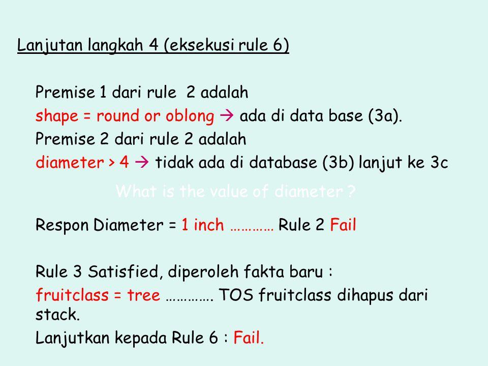 Lanjutan langkah 4 (eksekusi rule 6) Premise 1 dari rule 2 adalah shape = round or oblong  ada di data base (3a). Premise 2 dari rule 2 adalah diamet