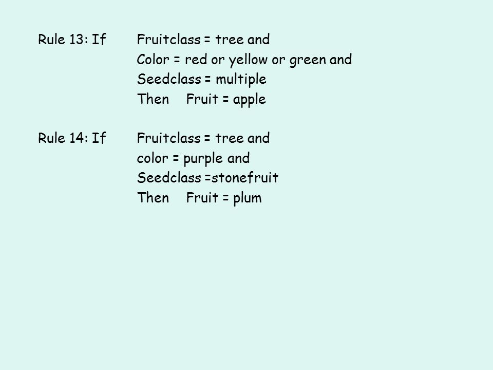 Rule 13: If Fruitclass = tree and Color = red or yellow or green and Seedclass = multiple Then Fruit = apple Rule 14: If Fruitclass = tree and color = purple and Seedclass =stonefruit Then Fruit = plum