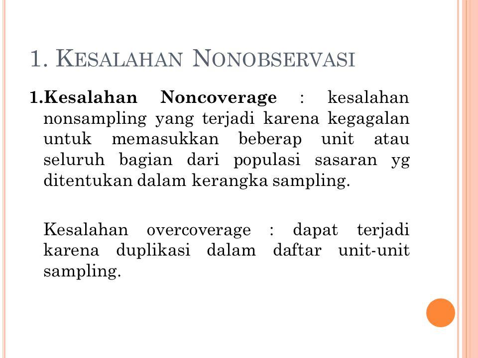 1. K ESALAHAN N ONOBSERVASI 1.Kesalahan Noncoverage : kesalahan nonsampling yang terjadi karena kegagalan untuk memasukkan beberap unit atau seluruh b