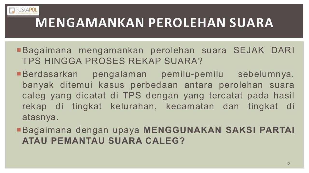  Bagaimana mengamankan perolehan suara SEJAK DARI TPS HINGGA PROSES REKAP SUARA?  Berdasarkan pengalaman pemilu-pemilu sebelumnya, banyak ditemui ka