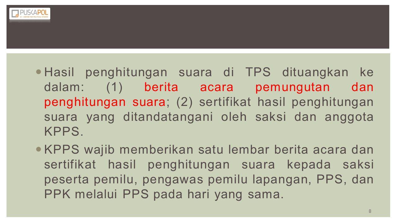 Hasil penghitungan suara di TPS dituangkan ke dalam: (1) berita acara pemungutan dan penghitungan suara; (2) sertifikat hasil penghitungan suara yang
