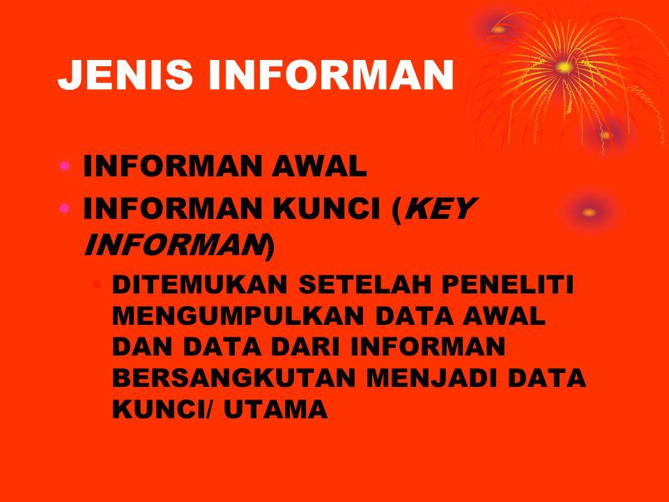 JENIS INFORMAN INFORMAN AWAL INFORMAN KUNCI (KEY INFORMAN) DITEMUKAN SETELAH PENELITI MENGUMPULKAN DATA AWAL DAN DATA DARI INFORMAN BERSANGKUTAN MENJADI DATA KUNCI/ UTAMA