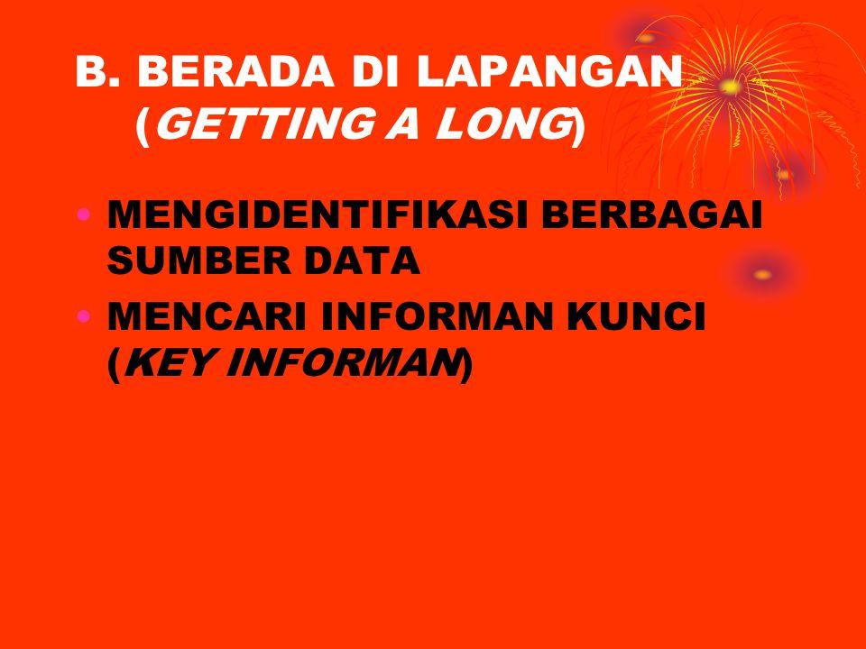 B. BERADA DI LAPANGAN (GETTING A LONG) MENGIDENTIFIKASI BERBAGAI SUMBER DATA MENCARI INFORMAN KUNCI (KEY INFORMAN)