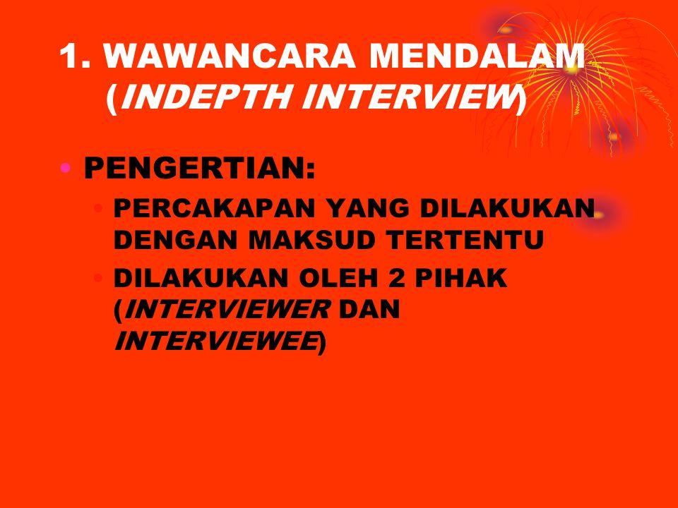 1. WAWANCARA MENDALAM (INDEPTH INTERVIEW) PENGERTIAN: PERCAKAPAN YANG DILAKUKAN DENGAN MAKSUD TERTENTU DILAKUKAN OLEH 2 PIHAK (INTERVIEWER DAN INTERVI