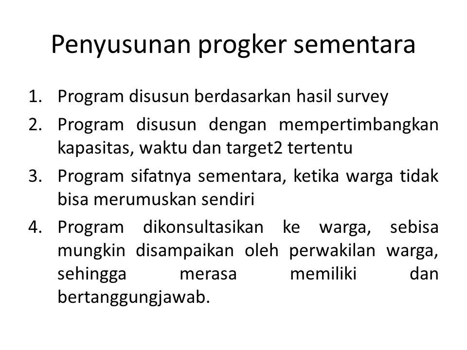 Penyusunan progker sementara 1.Program disusun berdasarkan hasil survey 2.Program disusun dengan mempertimbangkan kapasitas, waktu dan target2 tertent