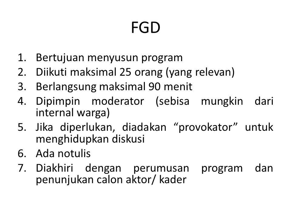 FGD 1.Bertujuan menyusun program 2.Diikuti maksimal 25 orang (yang relevan) 3.Berlangsung maksimal 90 menit 4.Dipimpin moderator (sebisa mungkin dari