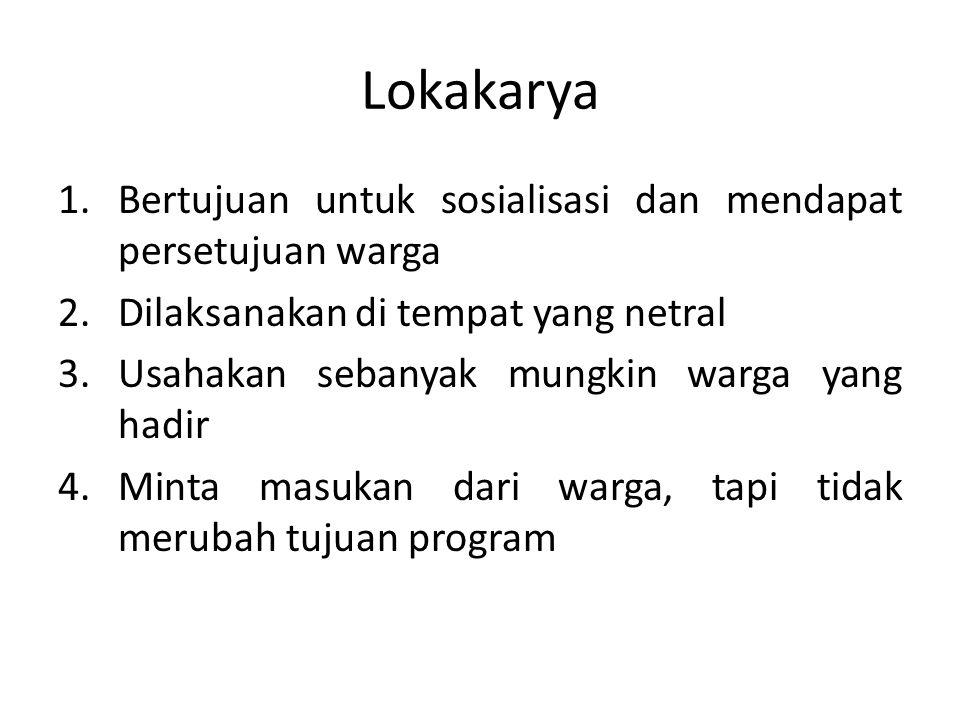 Lokakarya 1.Bertujuan untuk sosialisasi dan mendapat persetujuan warga 2.Dilaksanakan di tempat yang netral 3.Usahakan sebanyak mungkin warga yang had