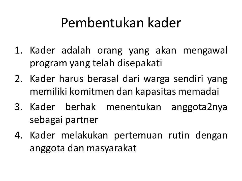 Pembentukan kader 1.Kader adalah orang yang akan mengawal program yang telah disepakati 2.Kader harus berasal dari warga sendiri yang memiliki komitme