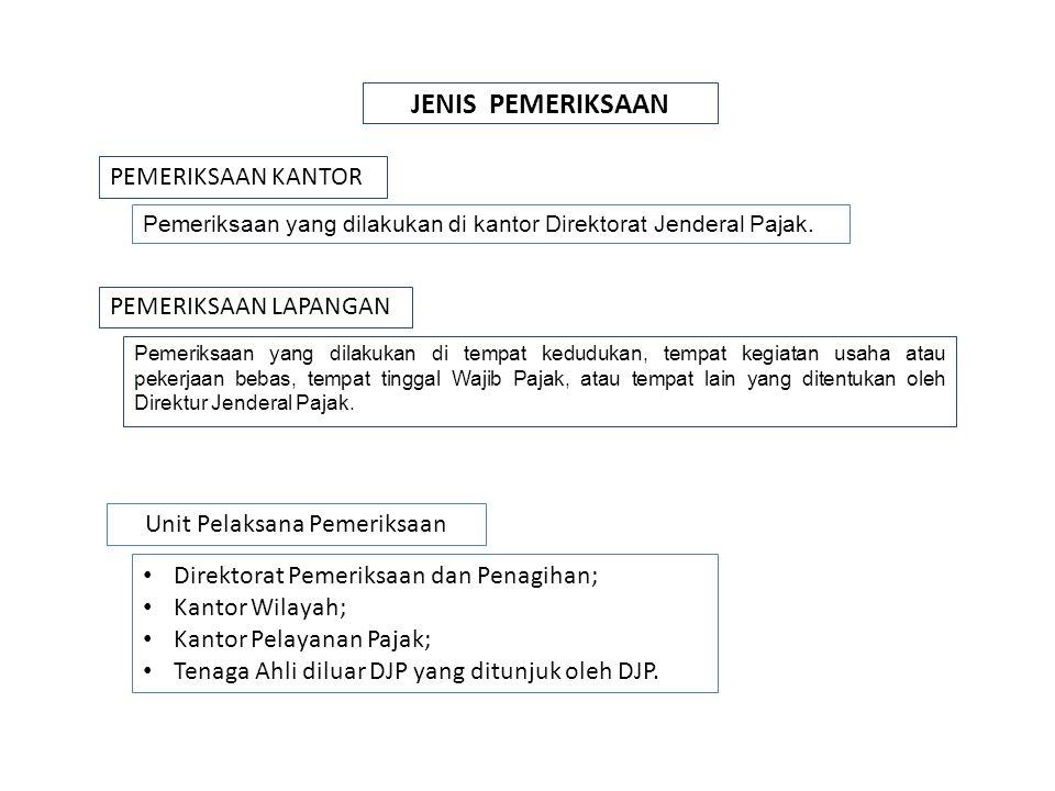 PEMERIKSAAN Menguji Kepatuhan WPTujuan Lain 1.SPT Rugi; 2.SPT tidak disampaikan; 3.SPT terlambat (sudah Surat Teguran); 4.Penggabungan, Peleburan, Pemekaran, Likuidasi, Pembubaran; 5.Meninggalkan Indonesia selama2nya; 6.SPT N/KB berindikasi ada kewajiban pajak yang tidak dipenuhi SPT LB / Pengembalian Pendahuluan Kelebih Pjk Pemeriksaan Lapangan Pemeriksaan Kantor / Lapangan (PMK NO 199/PMK.03/2007) a.pemberian Nomor Pokok Wajib Pajak secara jabatan; b.penghapusan Nomor Pokok Wajib Pajak; c.pengukuhan atau pencabutan pengukuhan Pengusaha Kena Pajak; d.Wajib Pajak mengajukan keberatan; e.pengumpulan bahan guna penyusunan Norma Penghitungan Penghasilan Neto; f.pencocokan data dan/ atau alat keterangan; g.penentuan Wajib Pajak berlokasi di daerah terpencil; h.penentuan satu atau lebih tempat terutang Pajak Pertambahan Nilai; i.Pemeriksaan dalam rangka penagihan pajak; ii.penentuan saat produksi dimulai atau memperpanjang jangka waktu kompensasi kerugian sehubungan dengan pemberian fasilitas perpajakan; dan/ atau k.