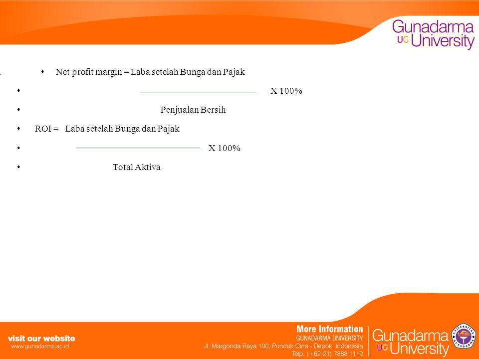 Net profit margin = Laba setelah Bunga dan Pajak X 100% Penjualan Bersih ROI = Laba setelah Bunga dan Pajak X 100% Total Aktiva