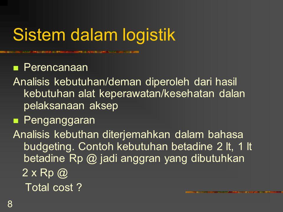 8 Sistem dalam logistik Perencanaan Analisis kebutuhan/deman diperoleh dari hasil kebutuhan alat keperawatan/kesehatan dalan pelaksanaan aksep Penganggaran Analisis kebuthan diterjemahkan dalam bahasa budgeting.