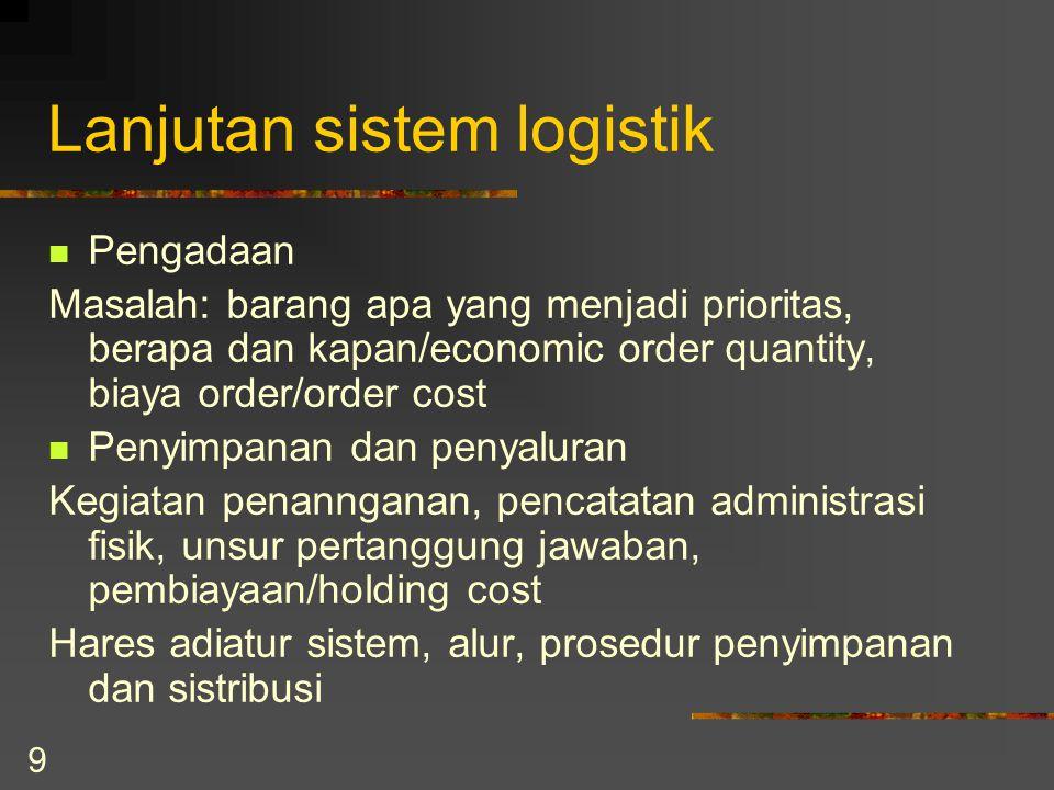 9 Lanjutan sistem logistik Pengadaan Masalah: barang apa yang menjadi prioritas, berapa dan kapan/economic order quantity, biaya order/order cost Peny
