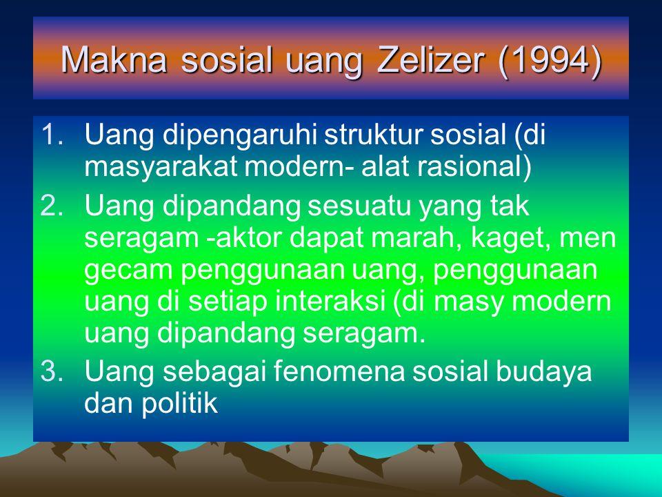 Makna sosial uang Zelizer (1994) 1.Uang dipengaruhi struktur sosial (di masyarakat modern- alat rasional) 2.Uang dipandang sesuatu yang tak seragam -a