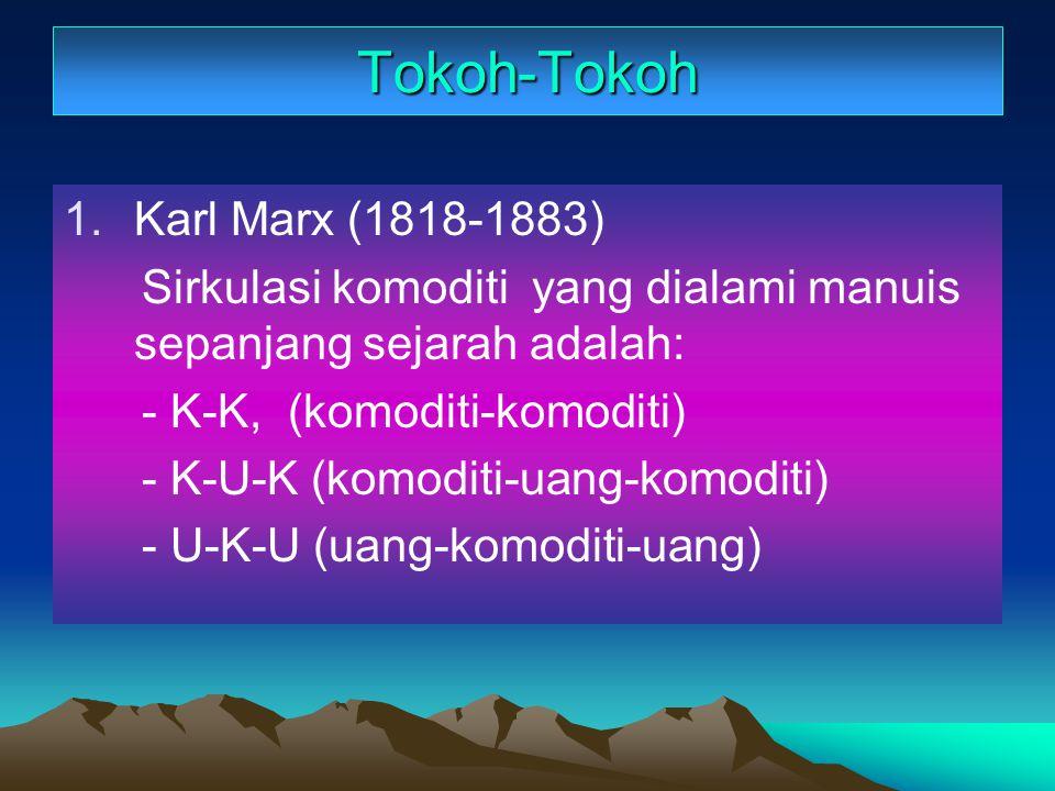 Tokoh-Tokoh 1.Karl Marx (1818-1883) Sirkulasi komoditi yang dialami manuis sepanjang sejarah adalah: - K-K, (komoditi-komoditi) - K-U-K (komoditi-uang