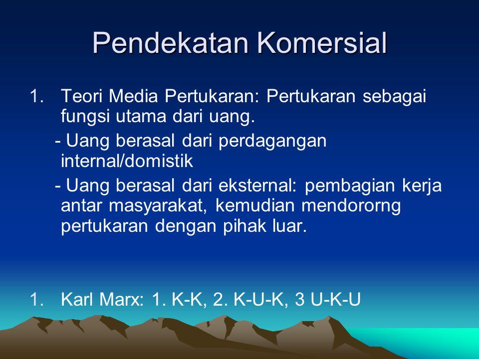 Pendekatan Komersial 1.Teori Media Pertukaran: Pertukaran sebagai fungsi utama dari uang. - Uang berasal dari perdagangan internal/domistik - Uang ber