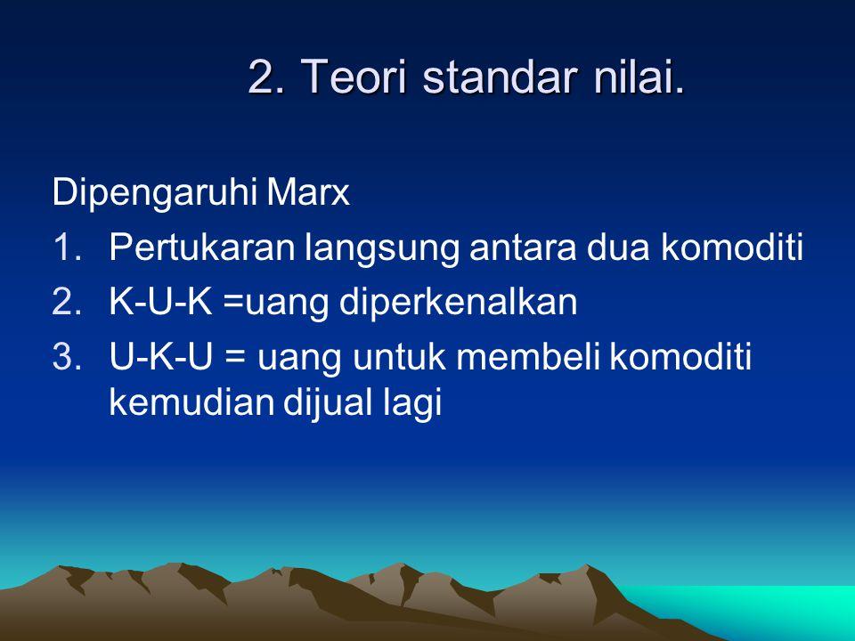 2. Teori standar nilai. Dipengaruhi Marx 1.Pertukaran langsung antara dua komoditi 2.K-U-K =uang diperkenalkan 3.U-K-U = uang untuk membeli komoditi k