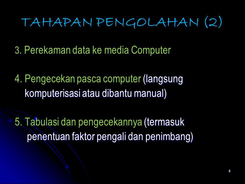 8 TAHAPAN PENGOLAHAN (2) 3.Perekaman data ke media Computer (langsung 4.