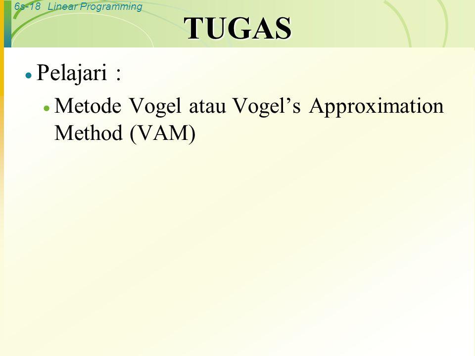 6s-18Linear Programming TUGAS  Pelajari :  Metode Vogel atau Vogel's Approximation Method (VAM)