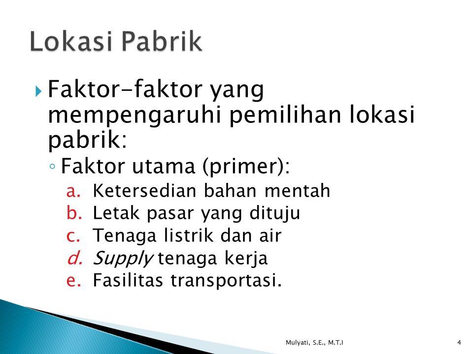  Faktor-faktor yang mempengaruhi pemilihan lokasi pabrik: ◦ Faktor utama (primer): a.Ketersedian bahan mentah b.Letak pasar yang dituju c.Tenaga list