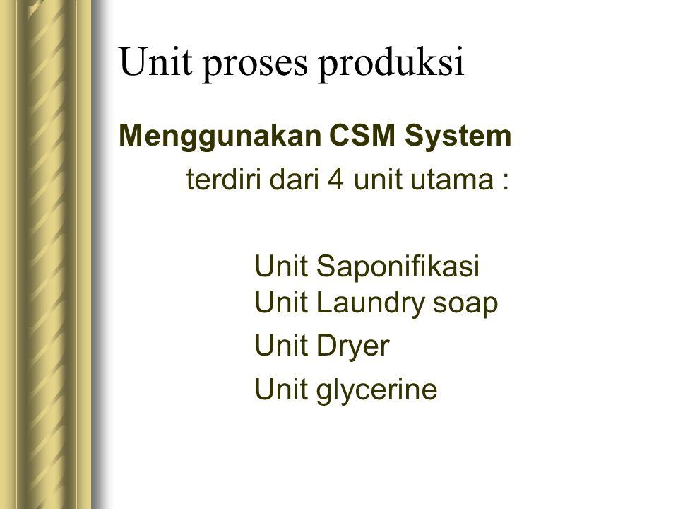 Unit proses produksi Menggunakan CSM System terdiri dari 4 unit utama : Unit Saponifikasi Unit Laundry soap Unit Dryer Unit glycerine