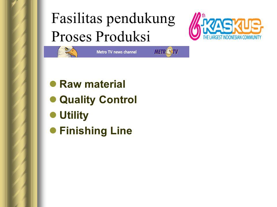 Fasilitas pendukung Proses Produksi Raw material Quality Control Utility Finishing Line