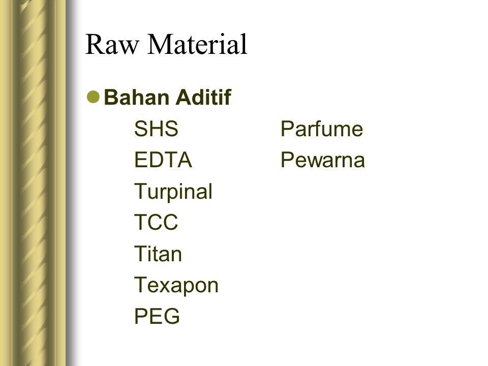 Raw Material Bahan Aditif SHSParfume EDTAPewarna Turpinal TCC Titan Texapon PEG