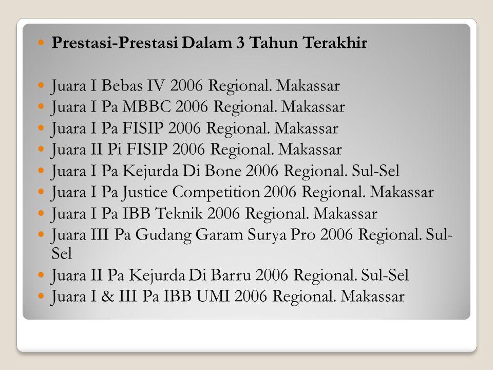 Prestasi-Prestasi Dalam 3 Tahun Terakhir Juara I Bebas IV 2006 Regional. Makassar Juara I Pa MBBC 2006 Regional. Makassar Juara I Pa FISIP 2006 Region