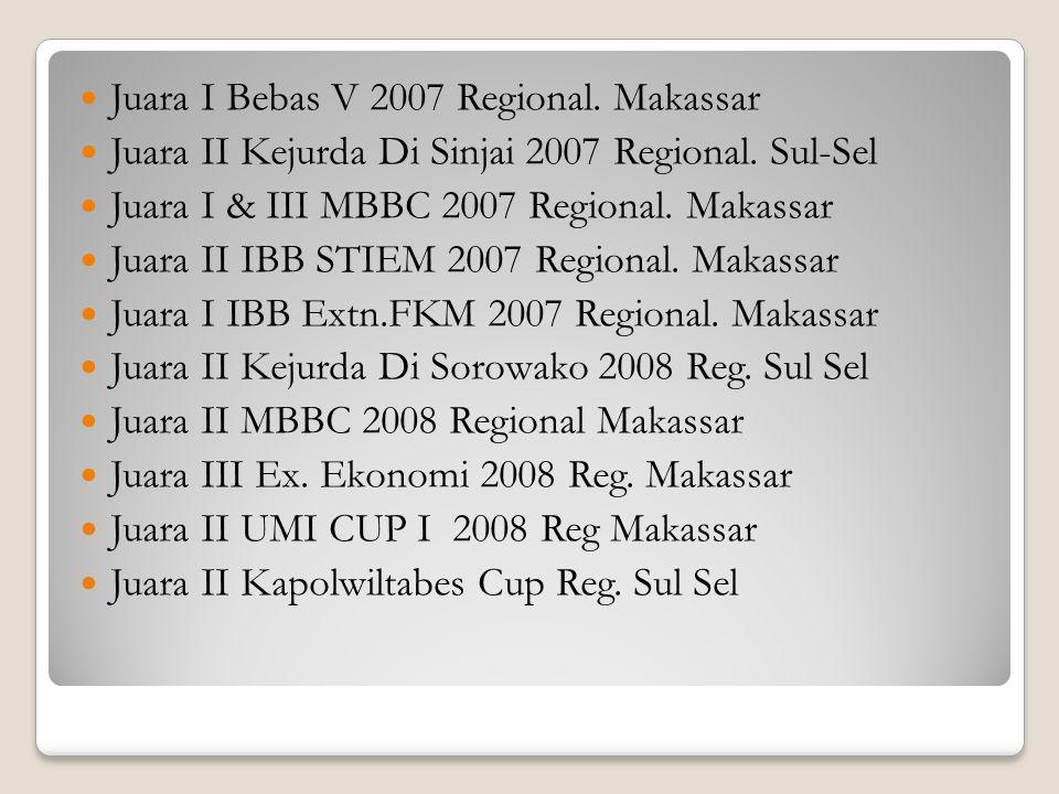 Juara I Bebas V 2007 Regional. Makassar Juara II Kejurda Di Sinjai 2007 Regional. Sul-Sel Juara I & III MBBC 2007 Regional. Makassar Juara II IBB STIE