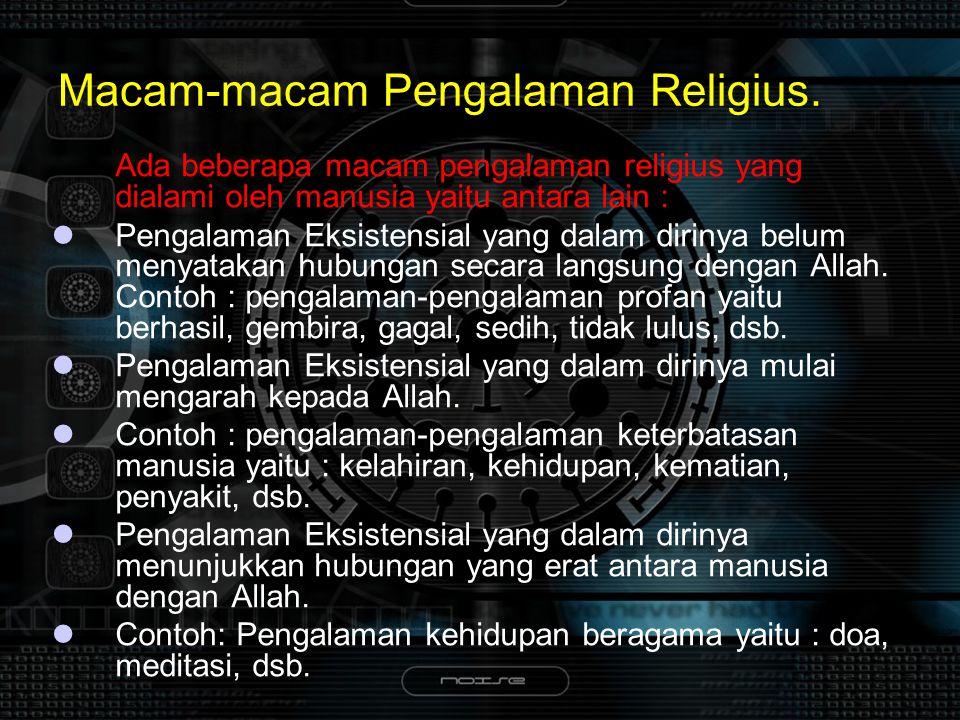 Macam-macam Pengalaman Religius.