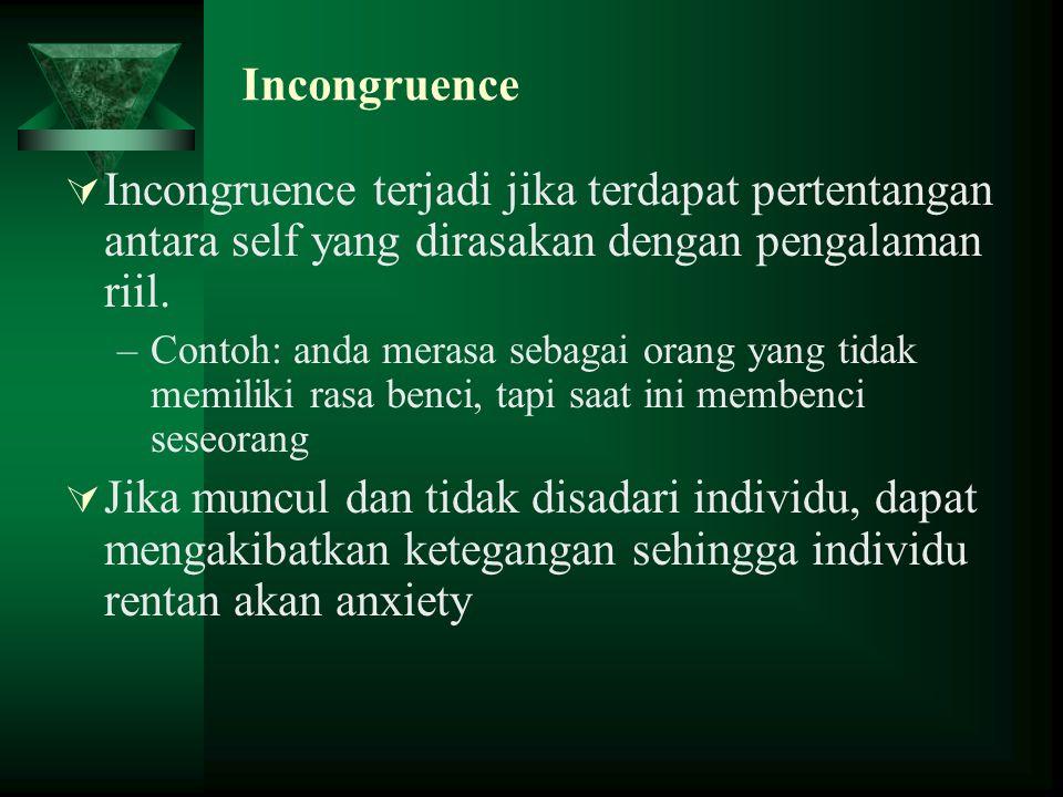Incongruence  Incongruence terjadi jika terdapat pertentangan antara self yang dirasakan dengan pengalaman riil. –Contoh: anda merasa sebagai orang y