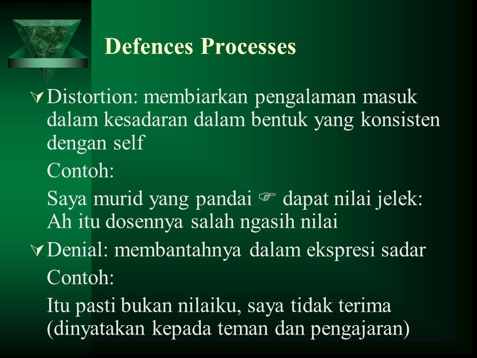 Defences Processes  Distortion: membiarkan pengalaman masuk dalam kesadaran dalam bentuk yang konsisten dengan self Contoh: Saya murid yang pandai 