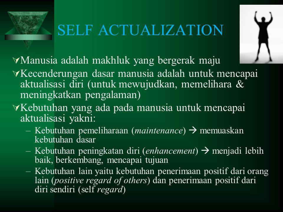 SELF ACTUALIZATION  Manusia adalah makhluk yang bergerak maju  Kecenderungan dasar manusia adalah untuk mencapai aktualisasi diri (untuk mewujudkan,