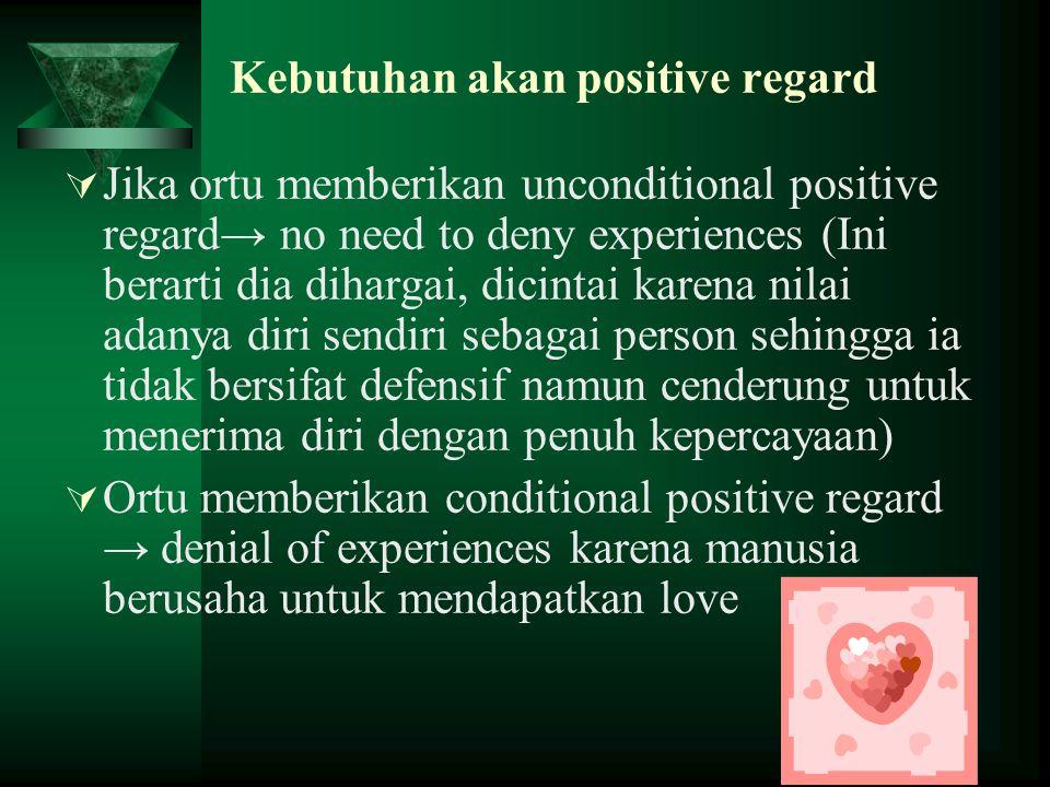 Kebutuhan akan positive regard  Jika ortu memberikan unconditional positive regard→ no need to deny experiences (Ini berarti dia dihargai, dicintai k