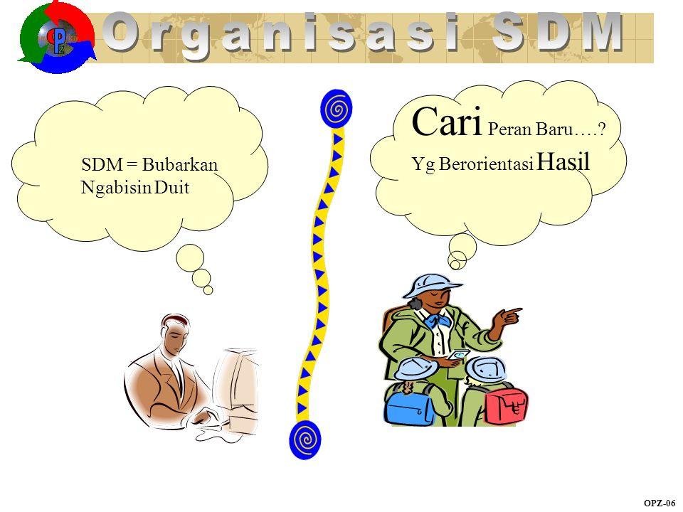 OPZ-06 Ruang lingkup SDM = Bubarkan Ngabisin Duit Cari Peran Baru….? Yg Berorientasi Hasil