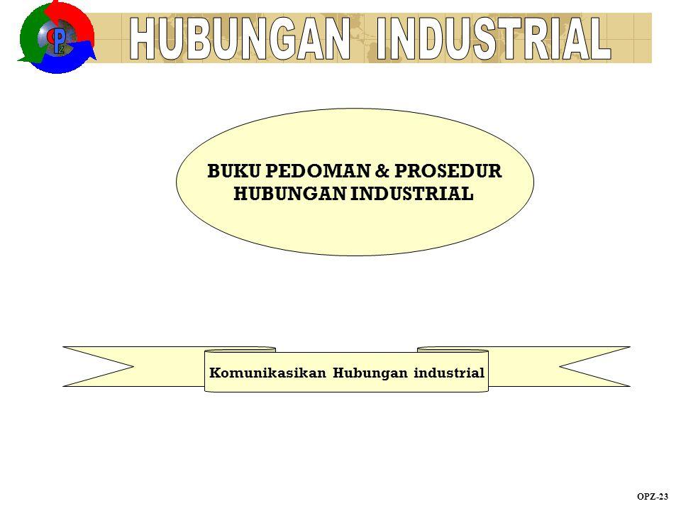 BUKU PEDOMAN & PROSEDUR HUBUNGAN INDUSTRIAL OPZ-23 Komunikasikan Hubungan industrial