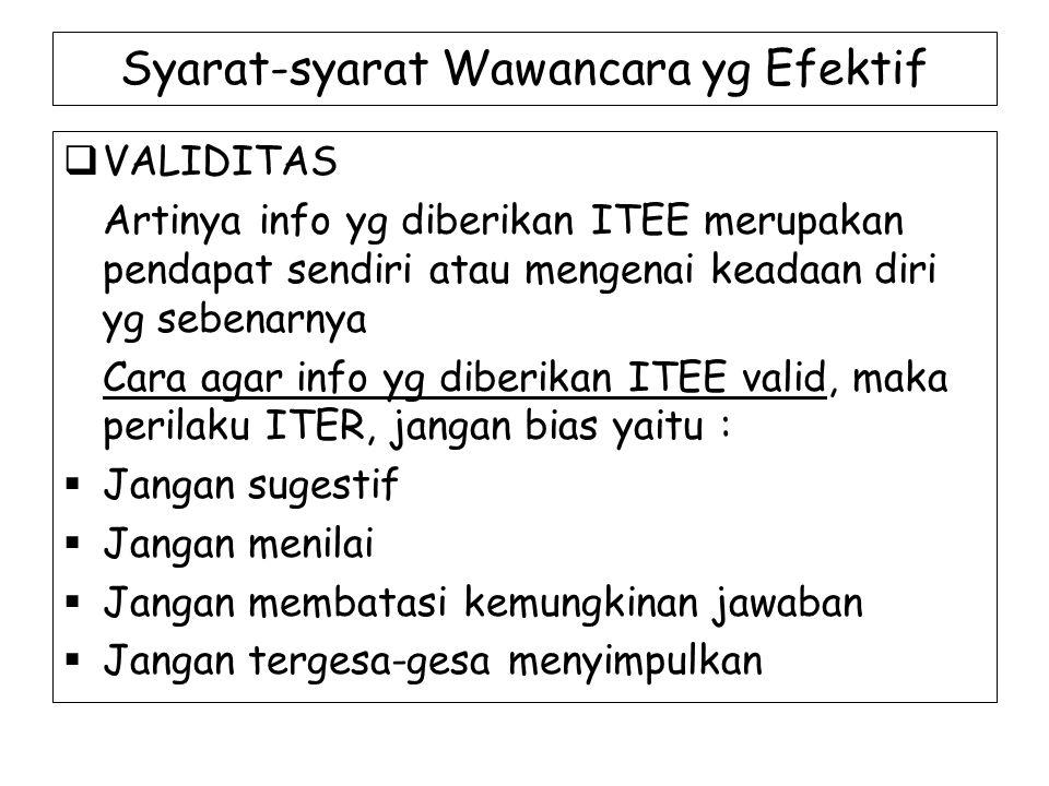 Syarat-syarat Wawancara yg Efektif  VALIDITAS Artinya info yg diberikan ITEE merupakan pendapat sendiri atau mengenai keadaan diri yg sebenarnya Cara