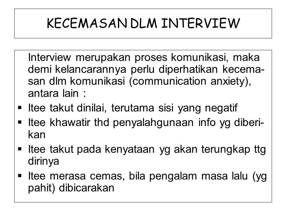 KECEMASAN DLM INTERVIEW Interview merupakan proses komunikasi, maka demi kelancarannya perlu diperhatikan kecema- san dlm komunikasi (communication an