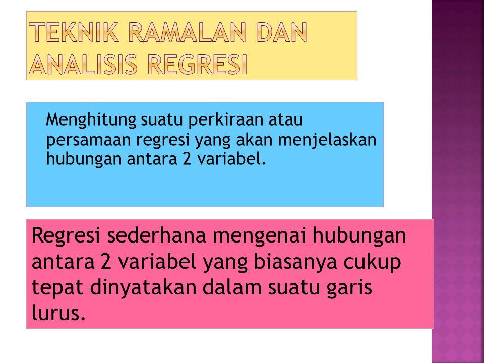 Menghitung suatu perkiraan atau persamaan regresi yang akan menjelaskan hubungan antara 2 variabel. Regresi sederhana mengenai hubungan antara 2 varia