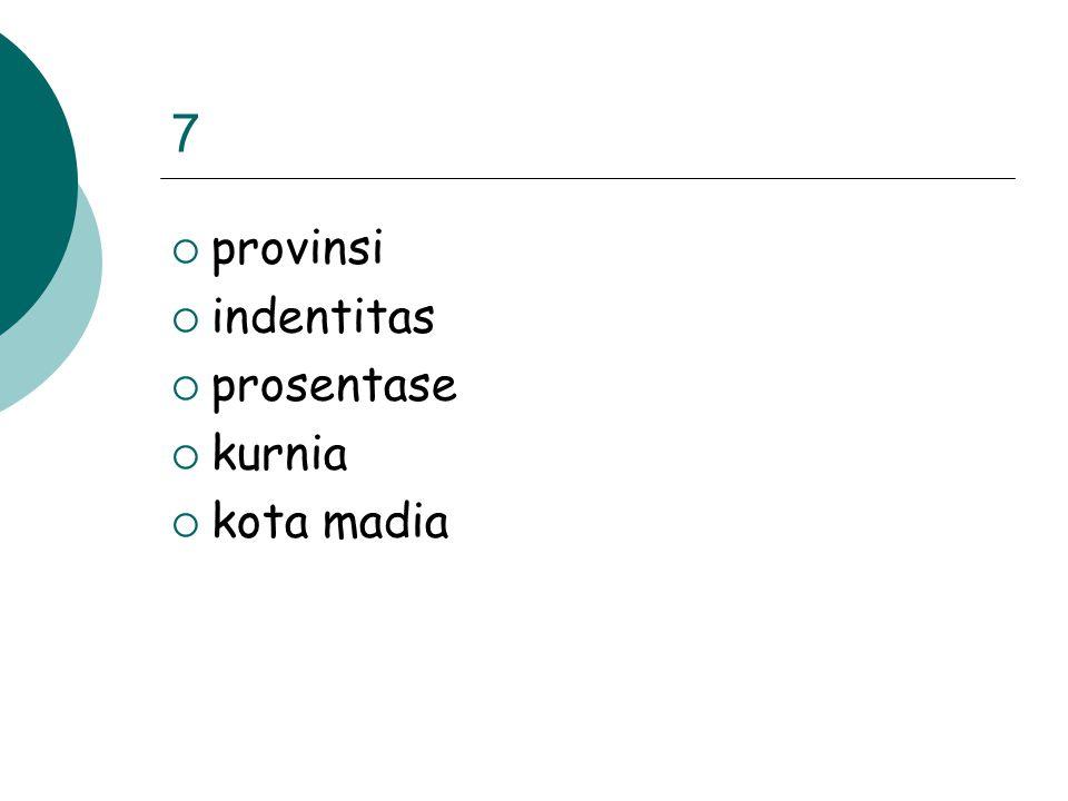7  provinsi  indentitas  prosentase  kurnia  kota madia