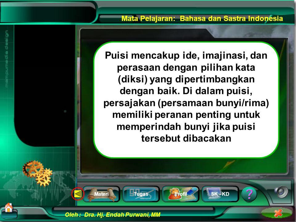 MateriTugasProfilSK - KD Oleh : Dra. Hj. Endah Purwani, MM Mata Pelajaran: Bahasa dan Sastra Indonesia Kaulah kandil kemerlap Pelita jendela di malam
