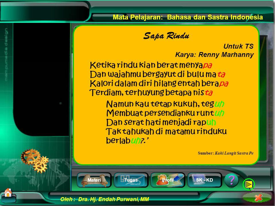 MateriTugasProfilSK - KD Oleh : Dra. Hj. Endah Purwani, MM Mata Pelajaran: Bahasa dan Sastra Indonesia Perhatikan contoh puisi berikut yang kental dal
