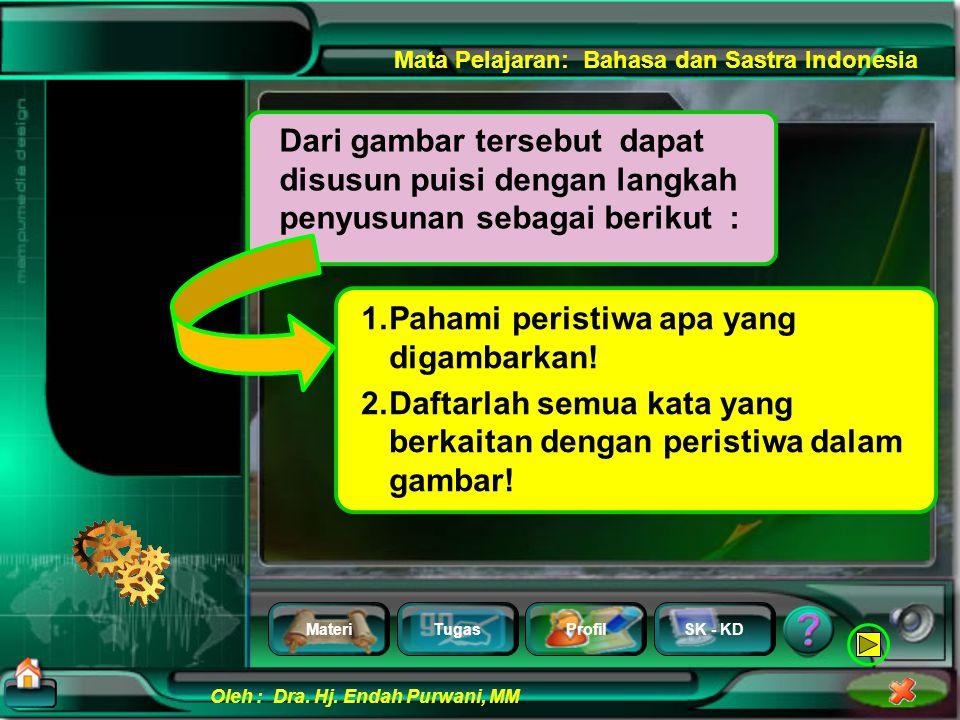 MateriTugasProfilSK - KD Oleh : Dra. Hj. Endah Purwani, MM Mata Pelajaran: Bahasa dan Sastra Indonesia Amati gambar di samping, Menulis Puisi Berdasar