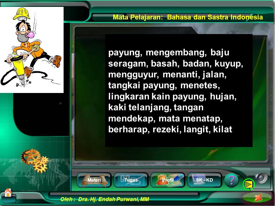 MateriTugasProfilSK - KD Oleh : Dra. Hj. Endah Purwani, MM Mata Pelajaran: Bahasa dan Sastra Indonesia 1.Pahami peristiwa apa yang digambarkan!Pahami