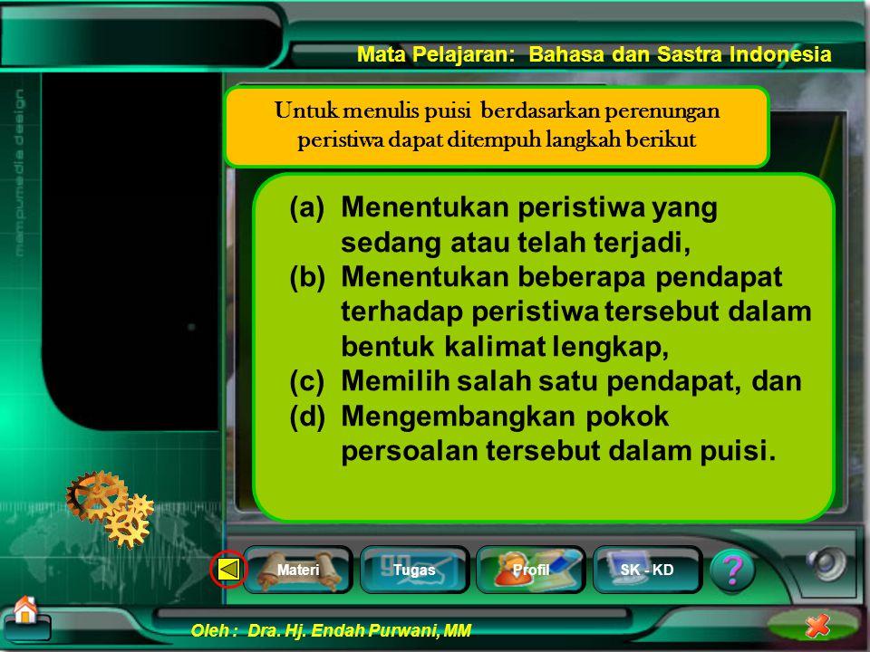 MateriTugasProfilSK - KD Oleh : Dra. Hj. Endah Purwani, MM Mata Pelajaran: Bahasa dan Sastra Indonesia Barangkali di sana ada jawabnya Mengapa di tana