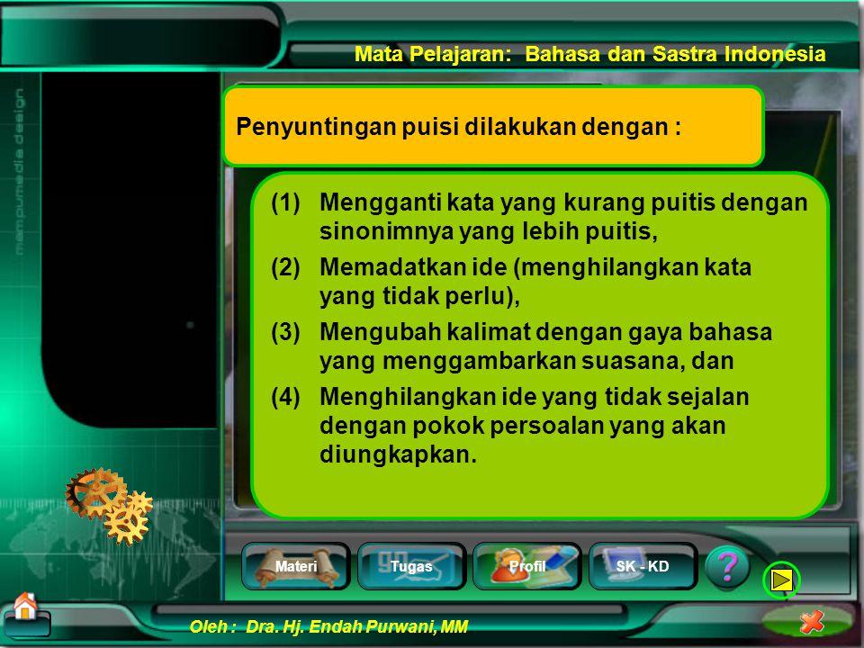 MateriTugasProfilSK - KD Oleh : Dra. Hj. Endah Purwani, MM Mata Pelajaran: Bahasa dan Sastra Indonesia Penyuntingan
