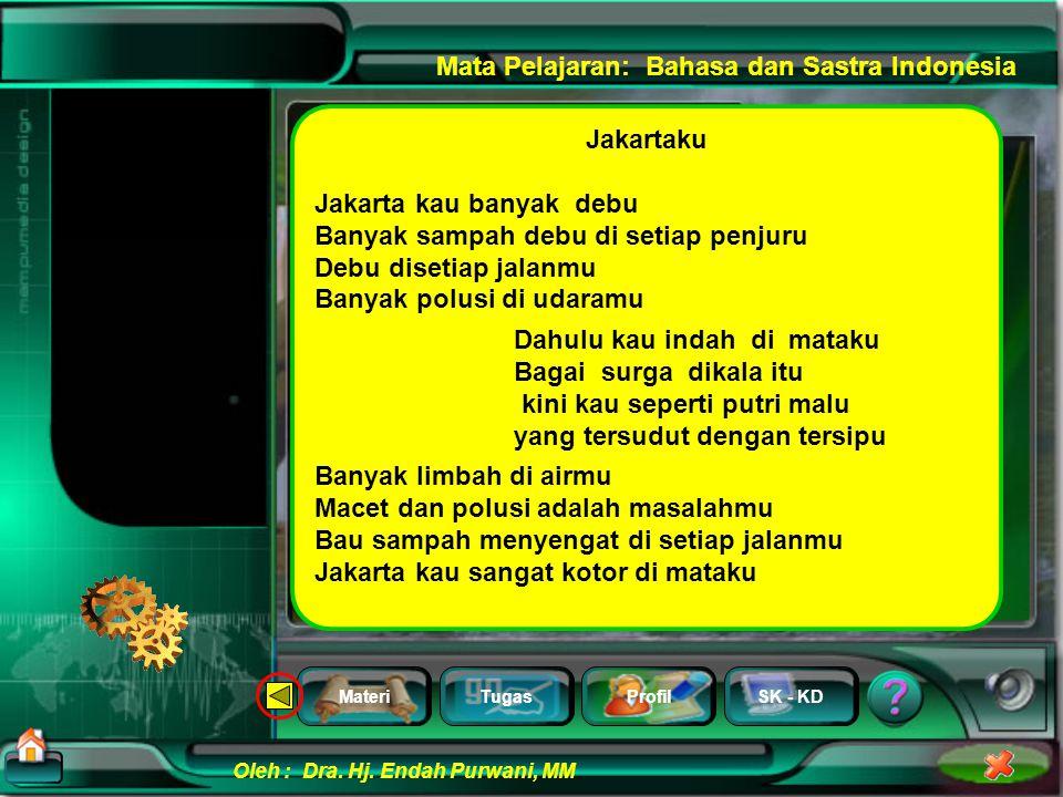 MateriTugasProfilSK - KD Oleh : Dra. Hj. Endah Purwani, MM Mata Pelajaran: Bahasa dan Sastra Indonesia bus mulai dibunyikan Suara bising mesin bus mul