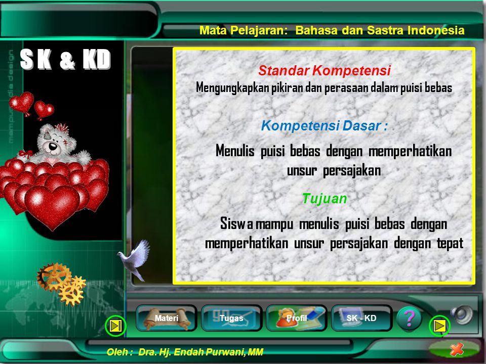MateriTugasProfilSK - KD Oleh : Dra. Hj. Endah Purwani, MM Mata Pelajaran: Bahasa dan Sastra Indonesia