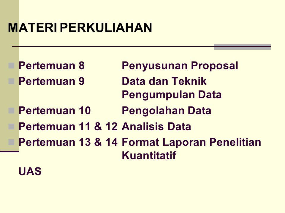 MATERI PERKULIAHAN Pertemuan 8Penyusunan Proposal Pertemuan 9Data dan Teknik Pengumpulan Data Pertemuan 10Pengolahan Data Pertemuan 11 & 12Analisis Data Pertemuan 13 & 14Format Laporan Penelitian Kuantitatif UAS