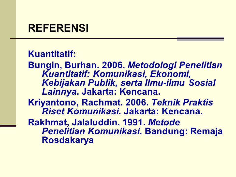 REFERENSI Kuantitatif: Bungin, Burhan. 2006. Metodologi Penelitian Kuantitatif: Komunikasi, Ekonomi, Kebijakan Publik, serta Ilmu-ilmu Sosial Lainnya.