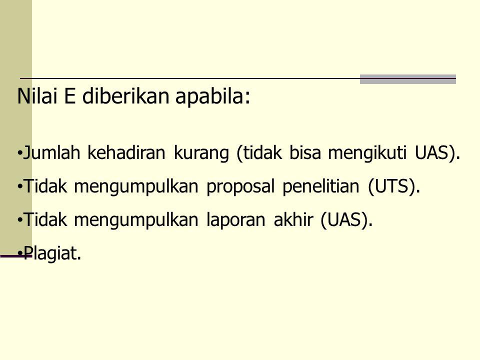 Nilai E diberikan apabila: Jumlah kehadiran kurang (tidak bisa mengikuti UAS). Tidak mengumpulkan proposal penelitian (UTS). Tidak mengumpulkan lapora